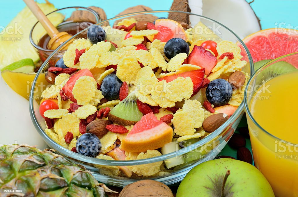 cornflake with fruit on table stock photo