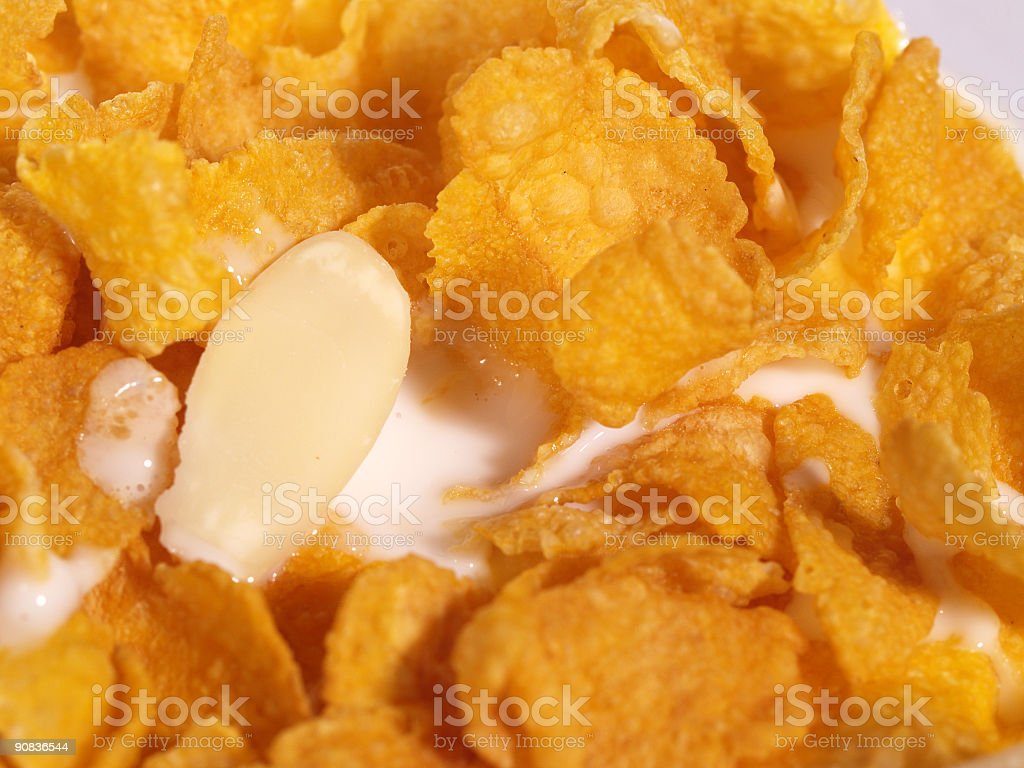 Cornflakes and almonds with milk royalty-free stock photo