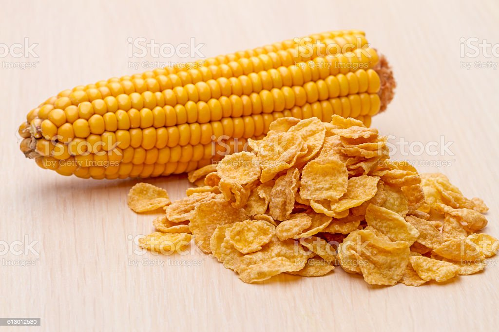Cornflakes and corn on the cob stock photo