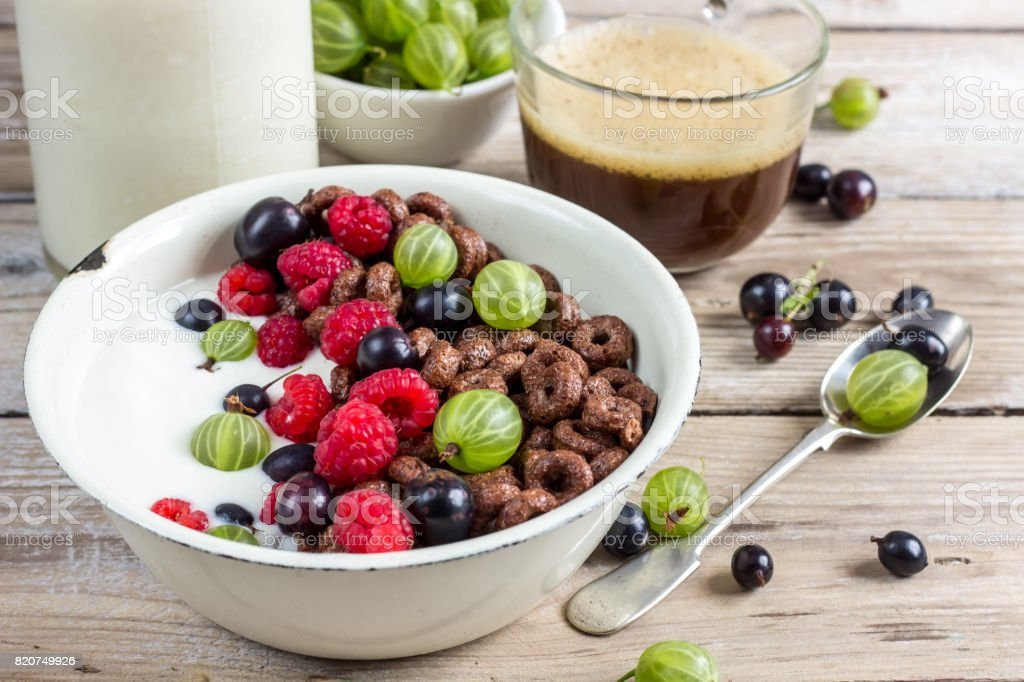 Cornflakes cereals with berries stock photo