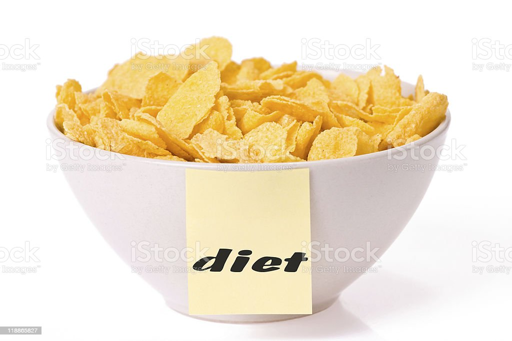 cornflakes in bowl and note paper stock photo