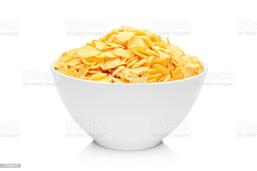 Cornflakes in porcelain bowl stock photo