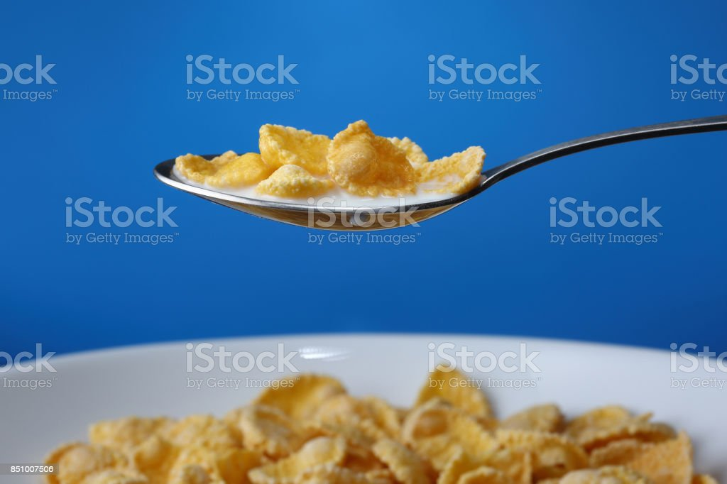 Cornflakes in spoon over blue background. Closeup stock photo