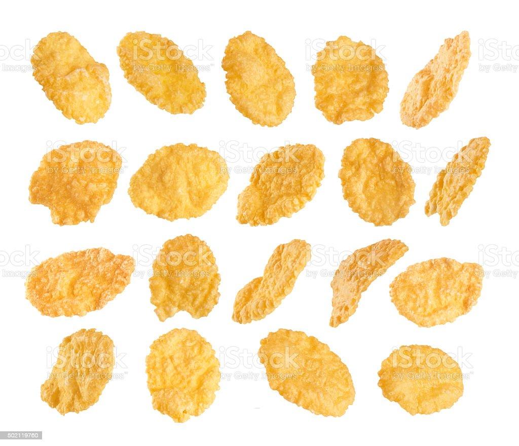 Cornflakes isolated on white background. stock photo