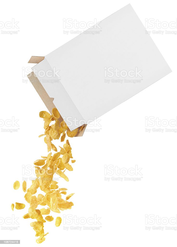Corn-flakes strewed from box stock photo