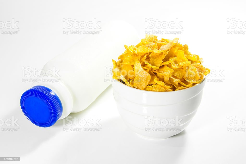 Cornflakes With A Bottle of Fresh Milk royalty-free stock photo