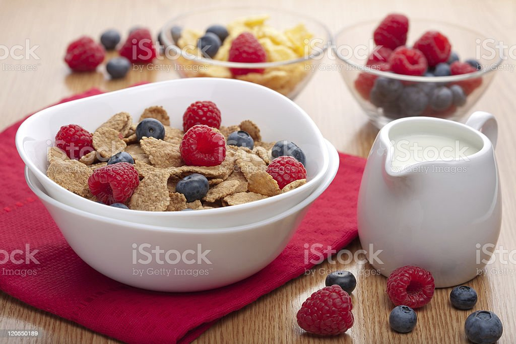 cornflakes with fresh berries for breakfast royalty-free stock photo