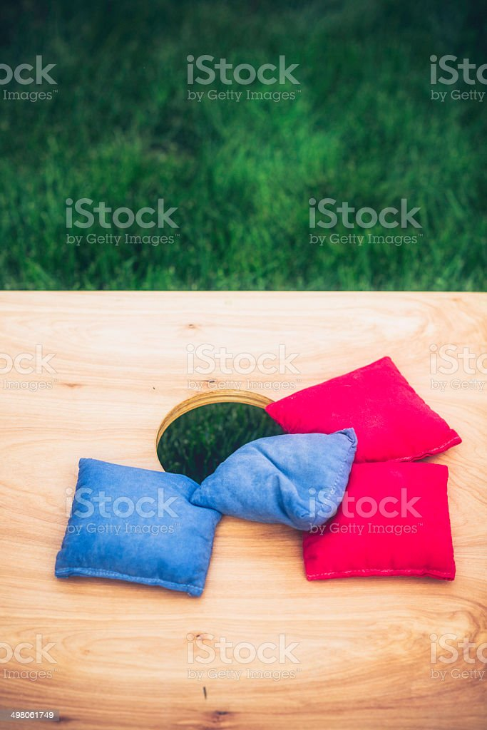Cornhole Board and Bags royalty-free stock photo