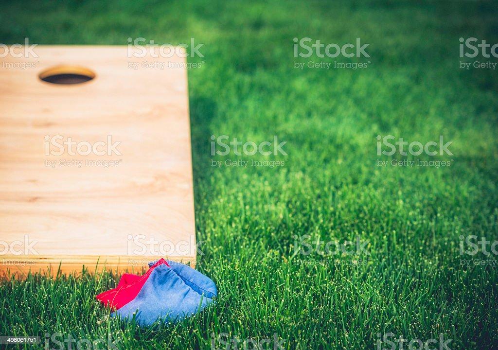 Cornhole Board and Bags stock photo