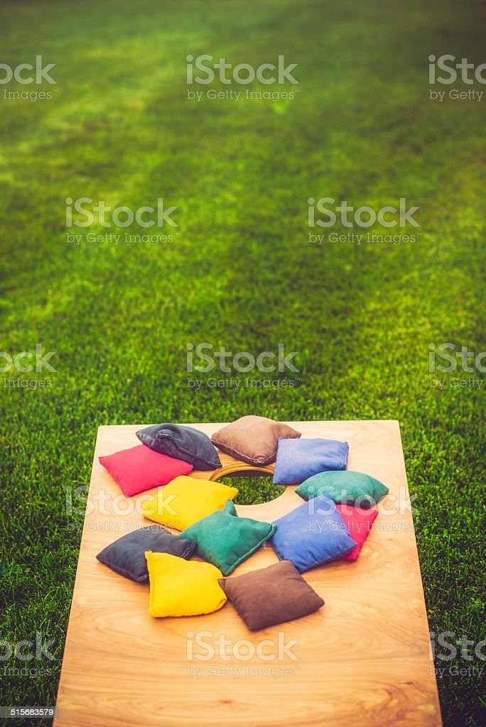 Cornhole Board and Bags stock photo