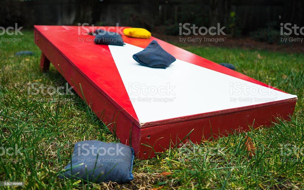 Cornhole Toss Game Board Close-Up stock photo