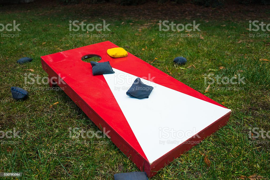 Cornhole Toss Game with Beanbags stock photo