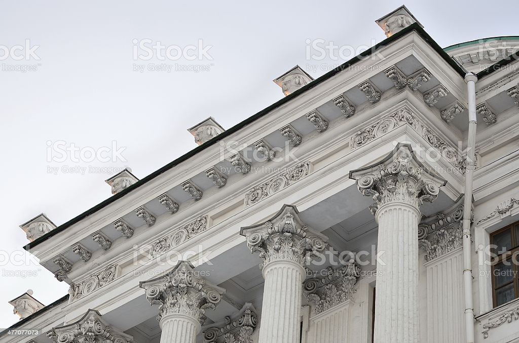 Cornice of the central building Houses Pashkov, Moscow royalty-free stock photo