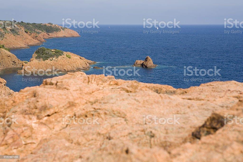 corniche de l'Esterel ending in the mediterranean sea royalty-free stock photo