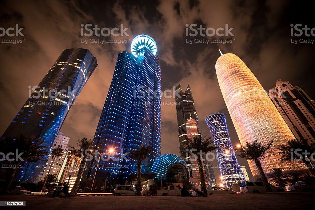 Corniche Doha Qatar Modern Urban Skyscrapers stock photo