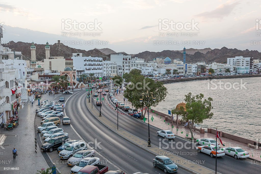 Corniche in Muttrah at dusk, Muscat stock photo
