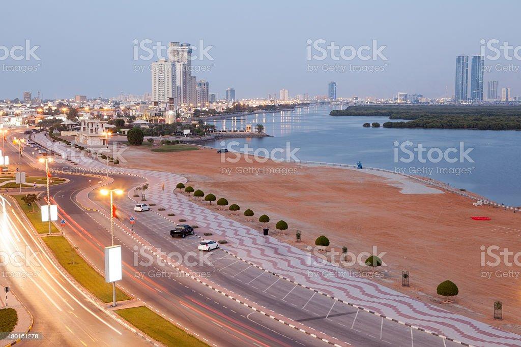 Corniche in Ras al Khaimah, UAE stock photo