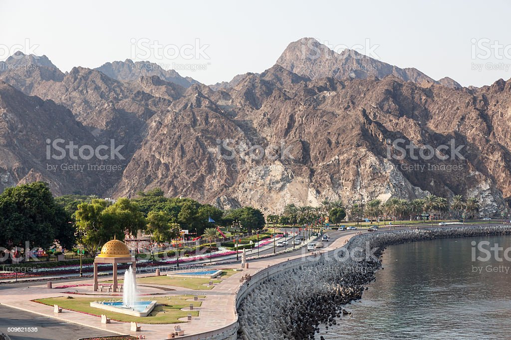 Corniche road in Muscat, Oman stock photo