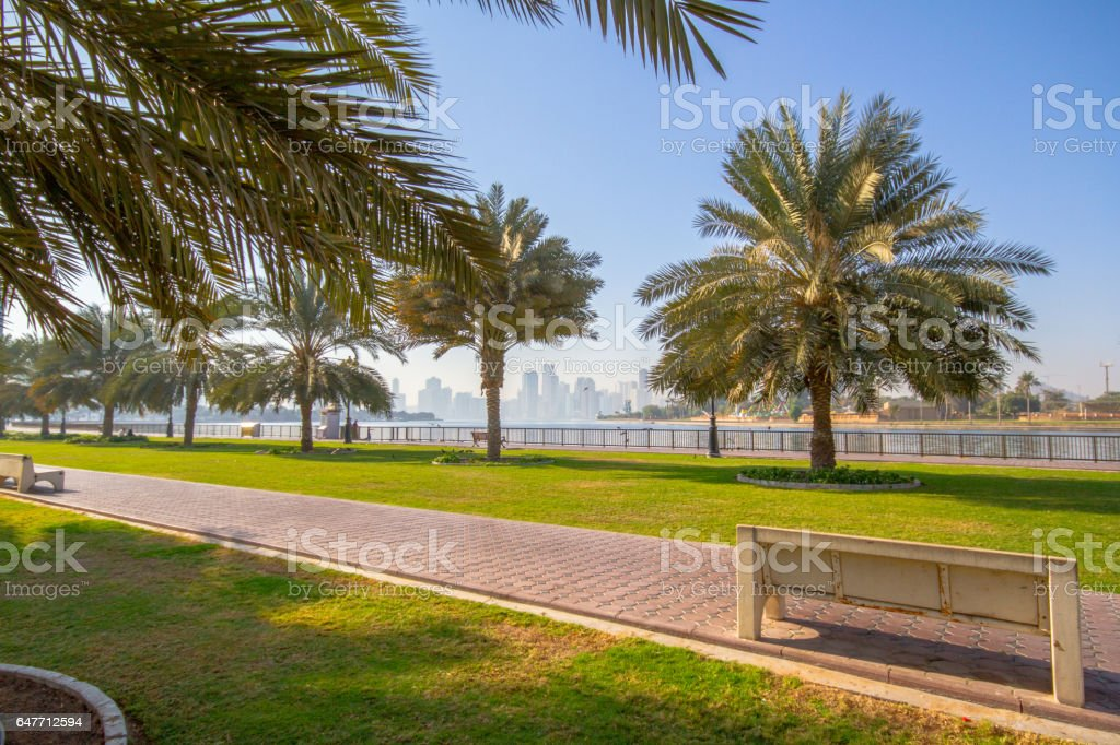 Corniche - Sharjah corniche park with beautiful greenery stock photo