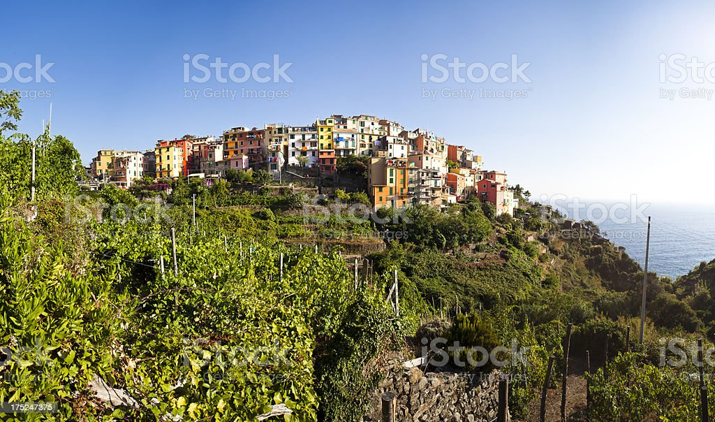 Corniglia big panorama, Cinque Terre royalty-free stock photo