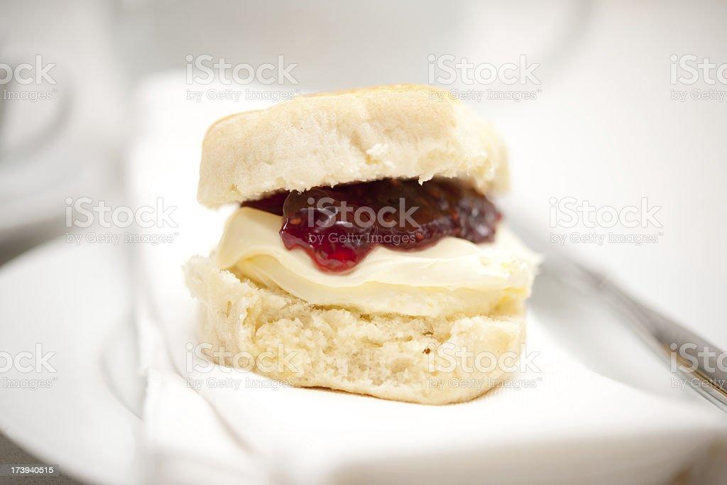 Cornish clotted cream scone stock photo