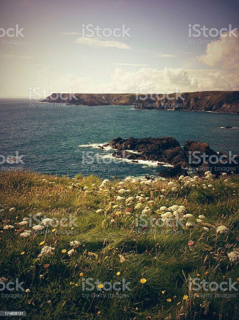 Cornish Coast at Godrevy, Cornwall, England stock photo