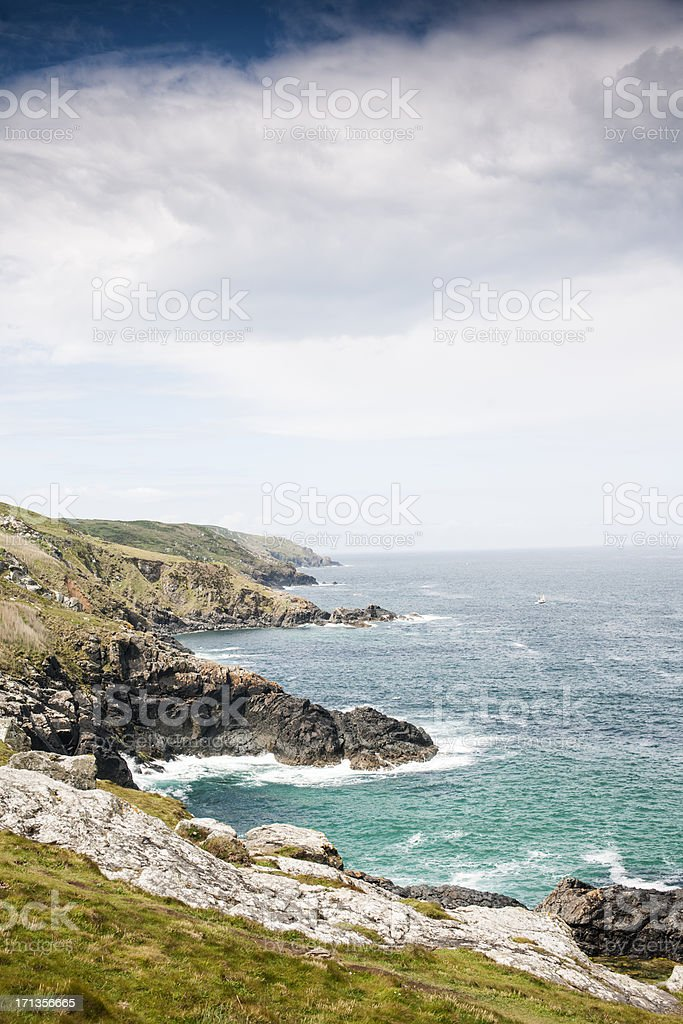 Cornish Coast views west from St. Ives Cornwall stock photo