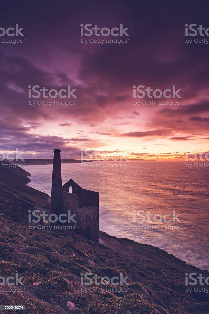 Cornish coastal tin mine engine house - Wheal Coates stock photo