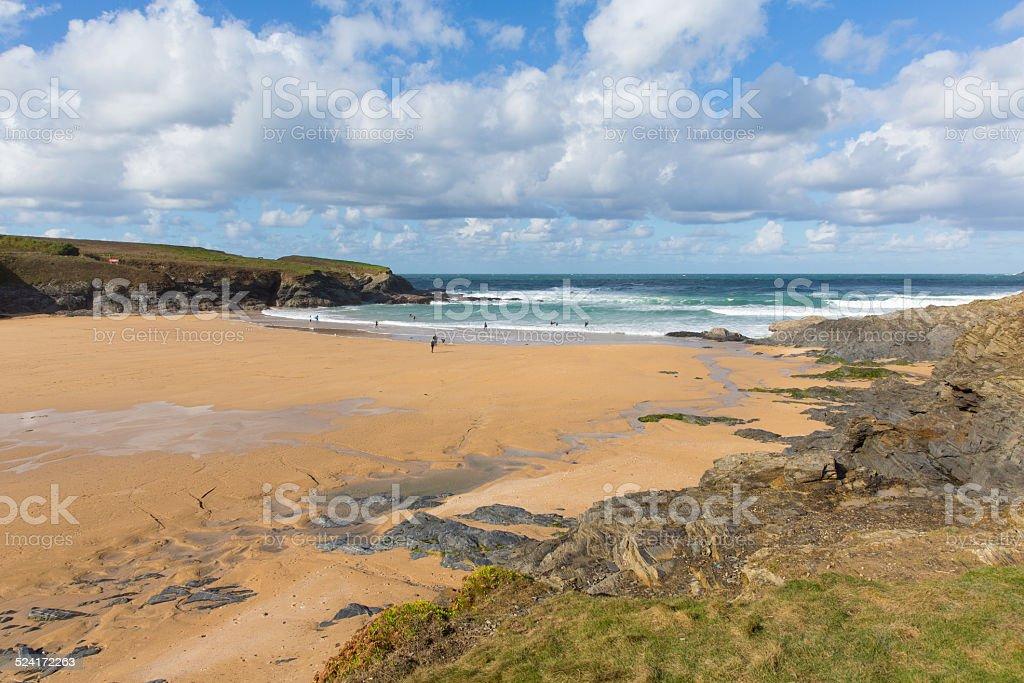 Cornish cove Treyarnon Bay Cornwall England UK north coast stock photo