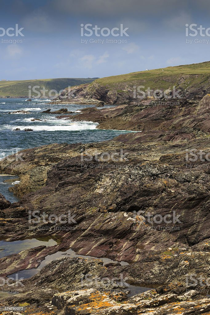 Cornish coves and cliffs at Trebetherick Point royalty-free stock photo