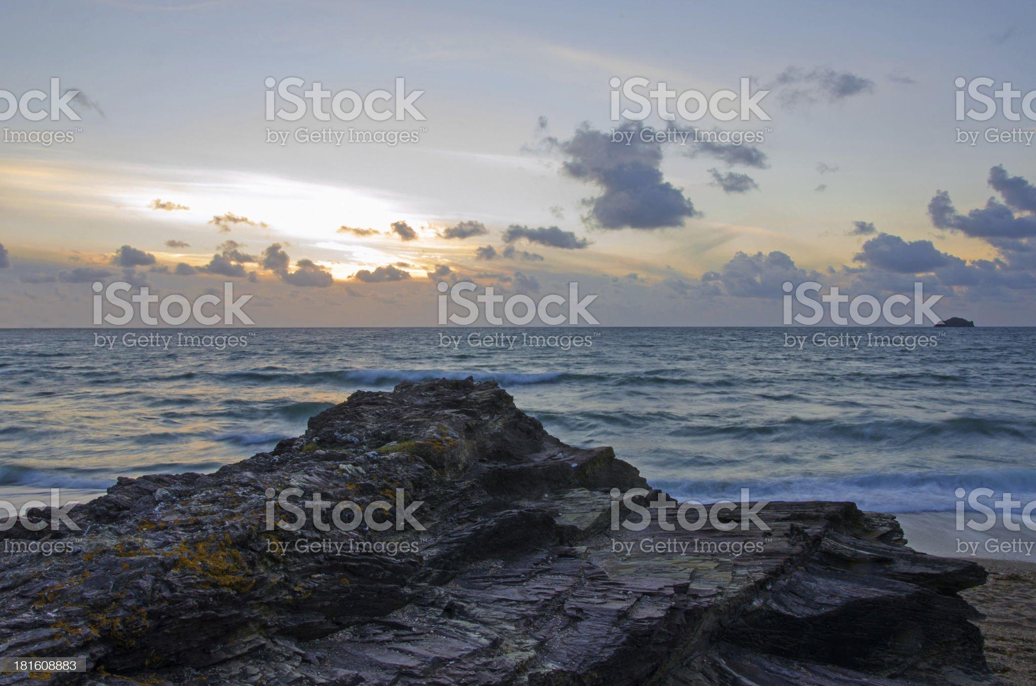 Cornish dusk seascape, North Cornwall. royalty-free stock photo