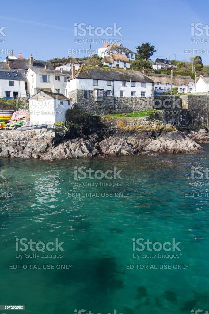 Cornish Fishing Village Of Coverack stock photo