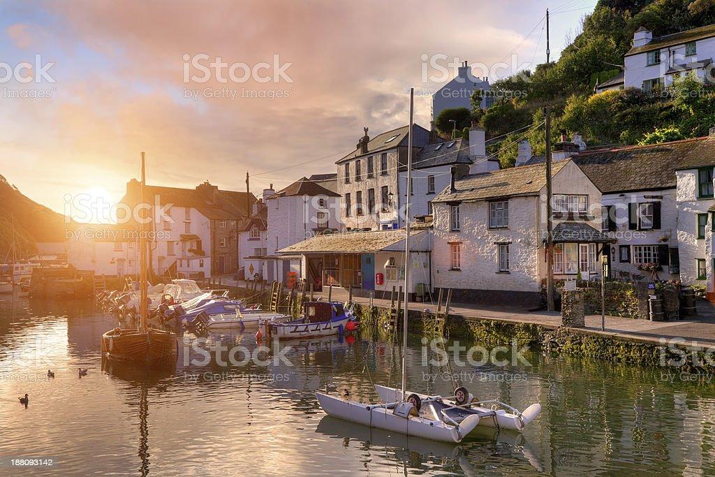 Cornish fishing village stock photo