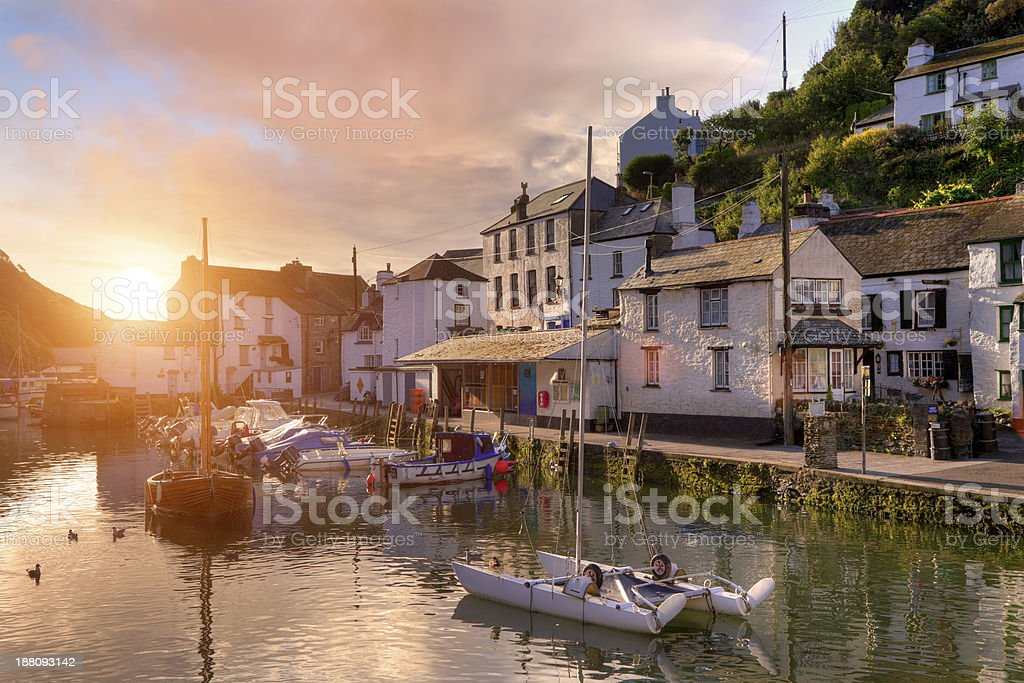 Cornish fishing village stock photo