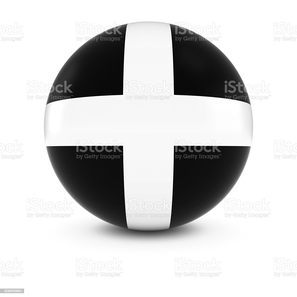 Cornish Flag Ball - Flag of Cornwall on Isolated Sphere stock photo