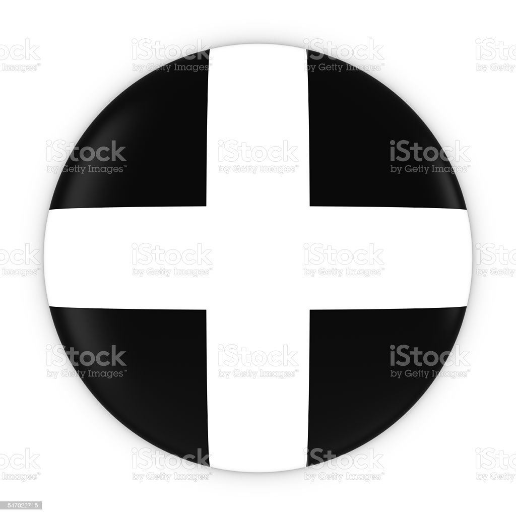 Cornish Flag Button - Flag of Cornwall Badge 3D Illustration stock photo