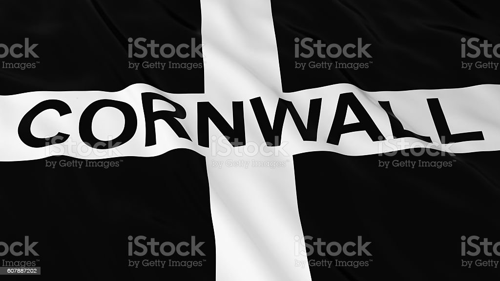 Cornish Flag with Cornwall Text 3D Illustration stock photo