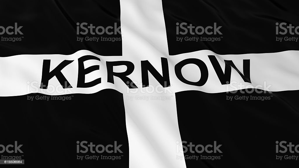 Cornish Flag with Kernow Text 3D Illustration stock photo