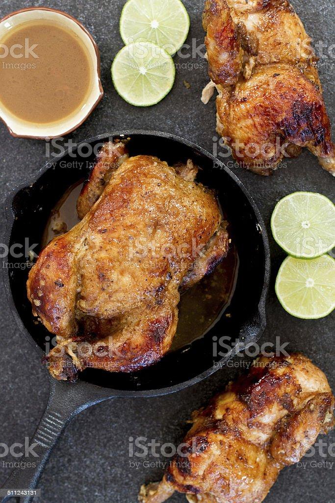 cornish hen with gravy stock photo
