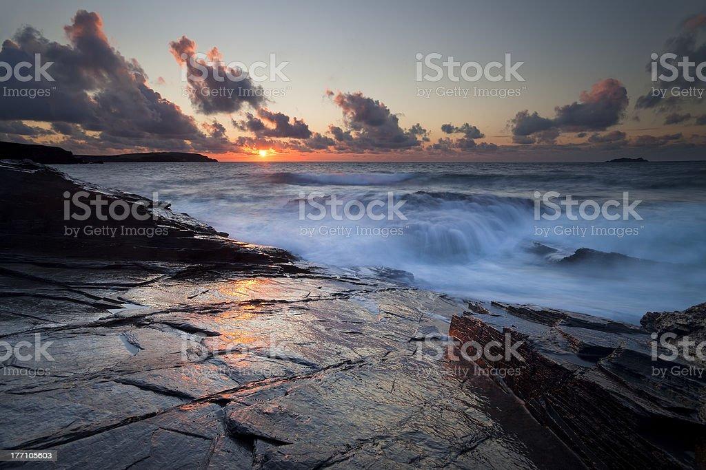 Cornish Slate Sunset stock photo