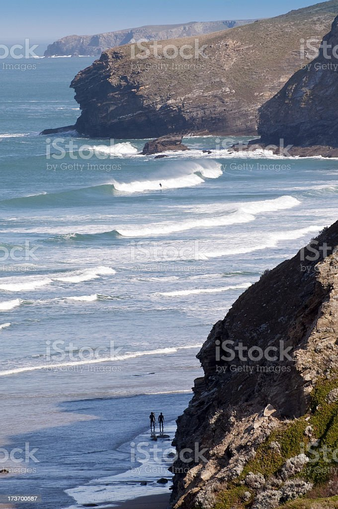 Cornish Surfing Beachscape royalty-free stock photo