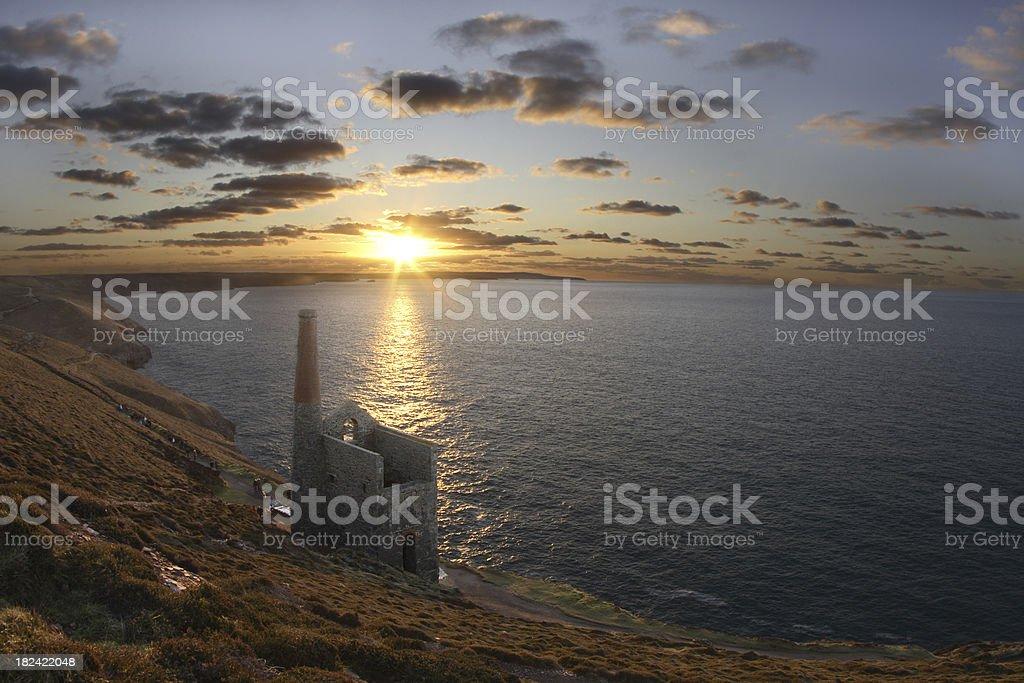 Cornish tin mine at sunset stock photo