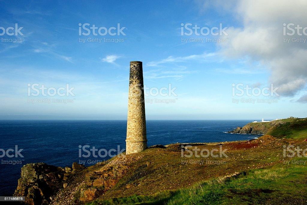 Cornish Tin Mine Chimney Lands End Levant stock photo
