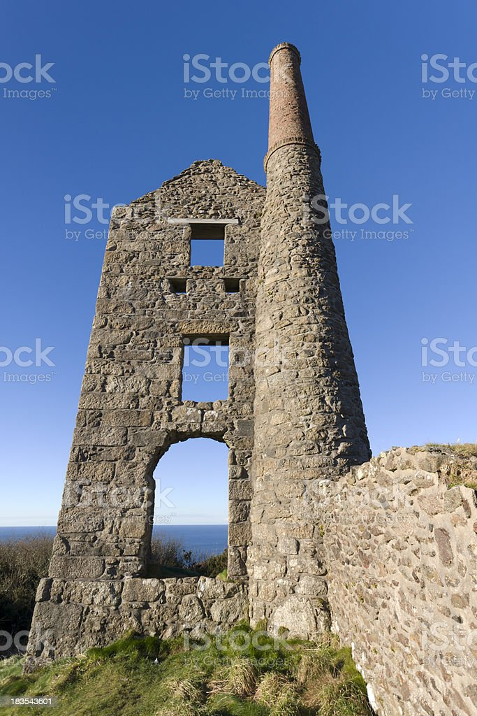 Cornish Tin Mine ruin stock photo
