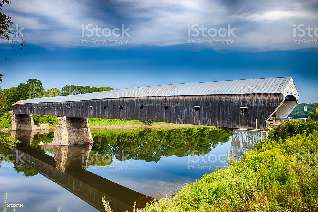Cornish-Windsor Covered Bridge In Vermont stock photo