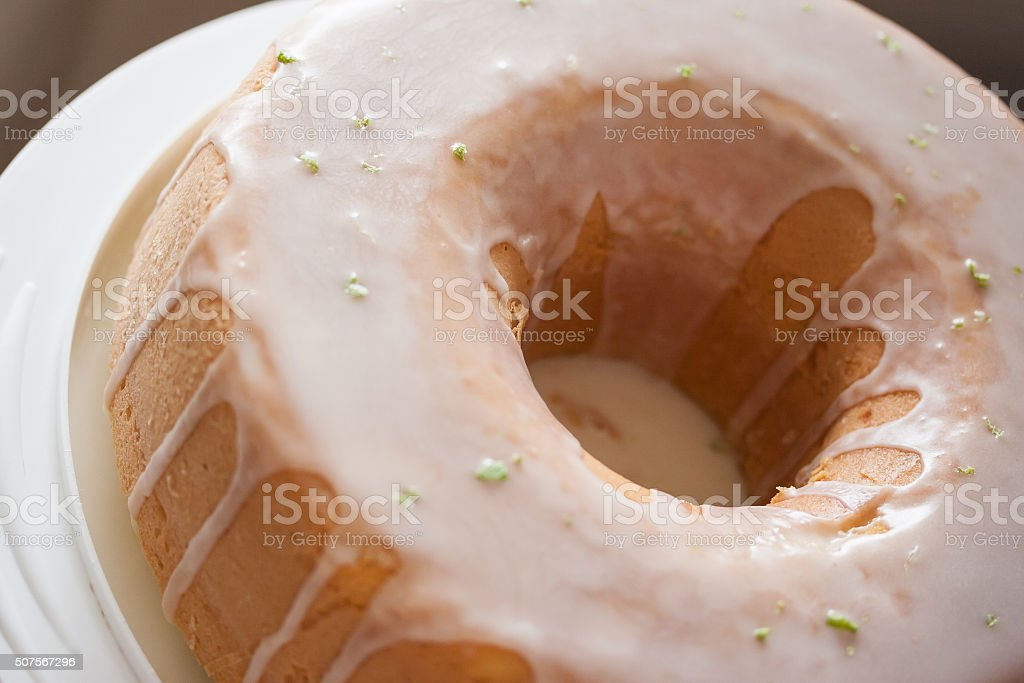 Cornmeal cake with icing stock photo