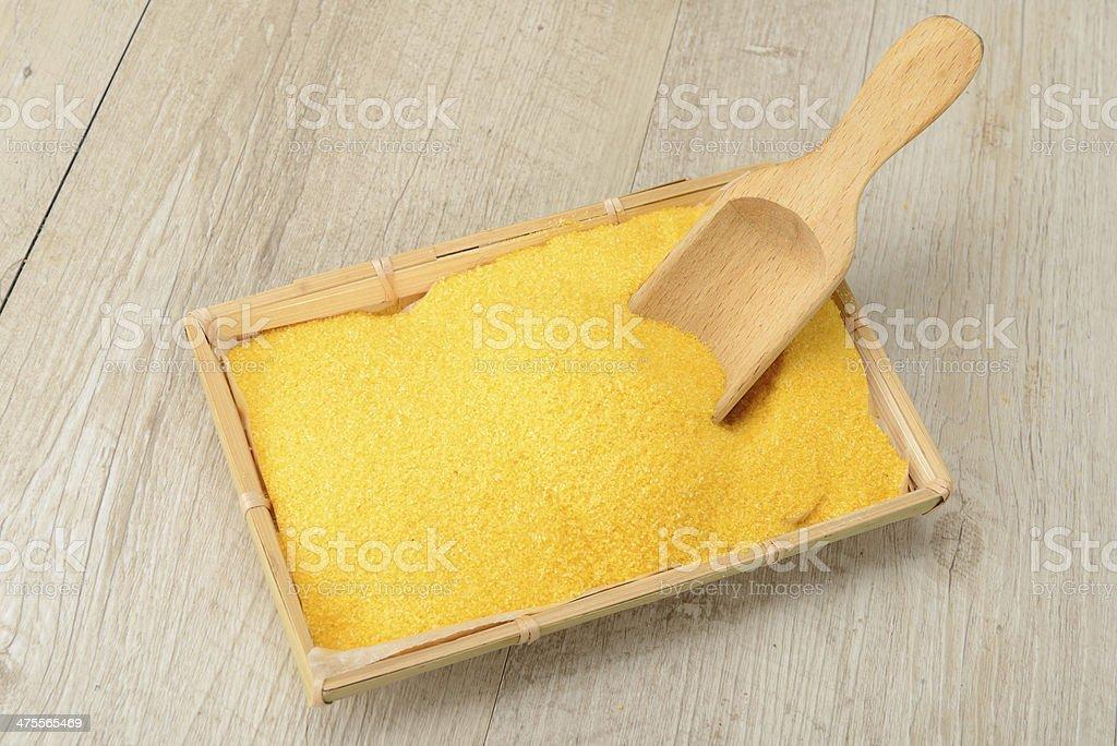 Cornmeal for polenta stock photo