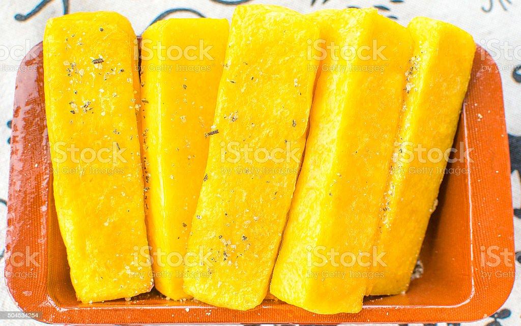 cornmeal mush slices yellow stock photo