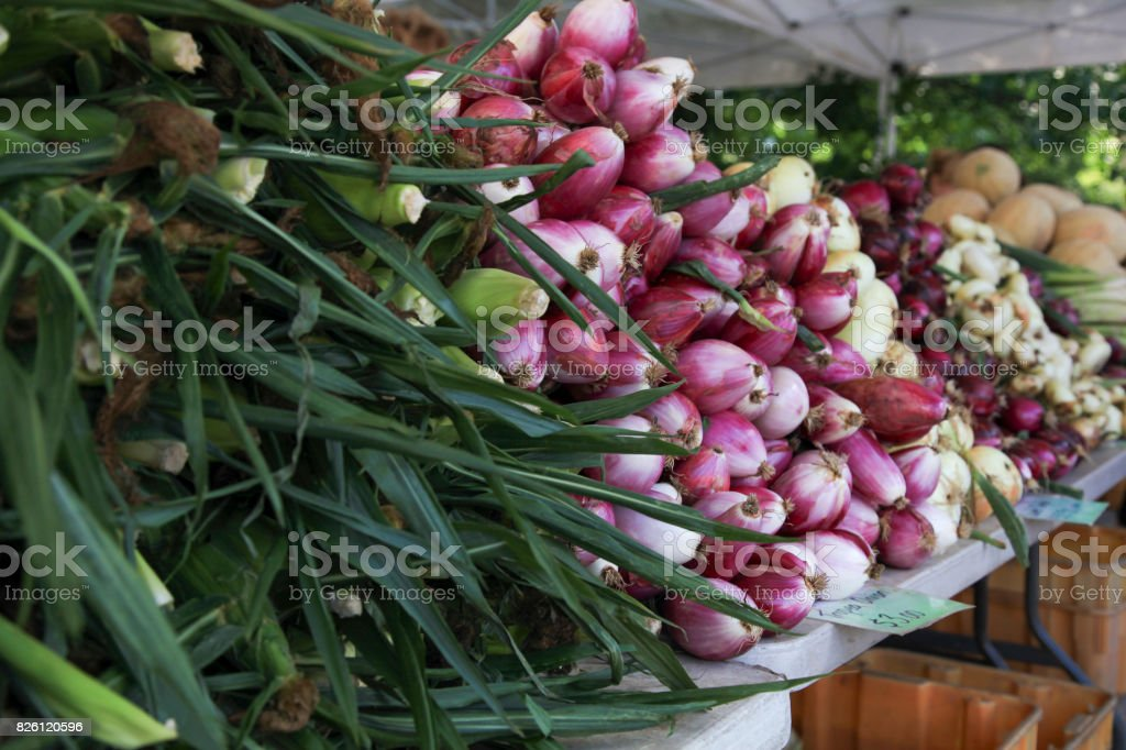 Corns, Tropea Onions at Market Stall stock photo