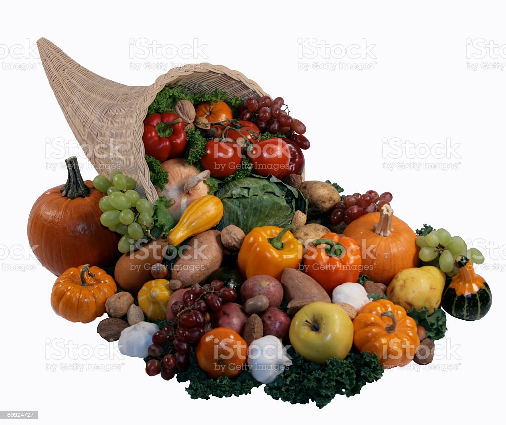 Cornucopia Filled With Vegetables & Fruit royalty-free stock photo